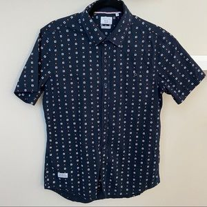 7 Diamonds Navy Blue Pattern Button Down Shirt